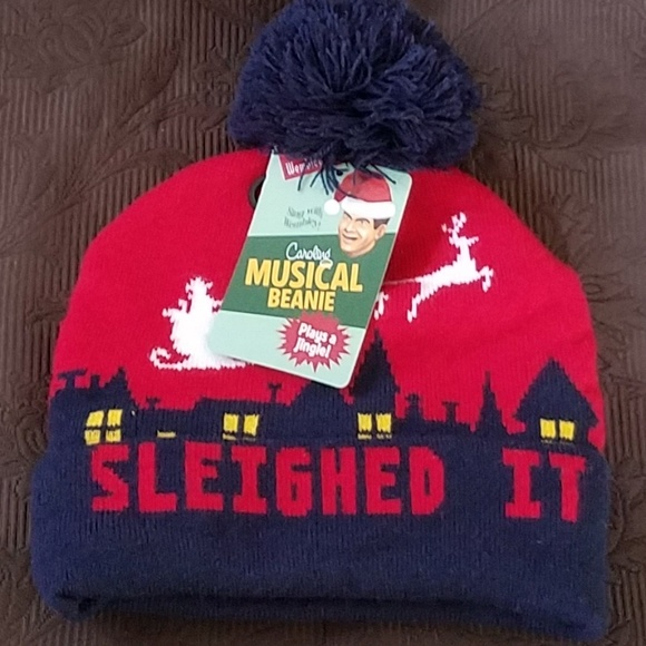 571647d2e59f6 NWT MUSICAL BEANIE CHRISTMAS SLEIGH WINTER HAT. NWT. Wembley